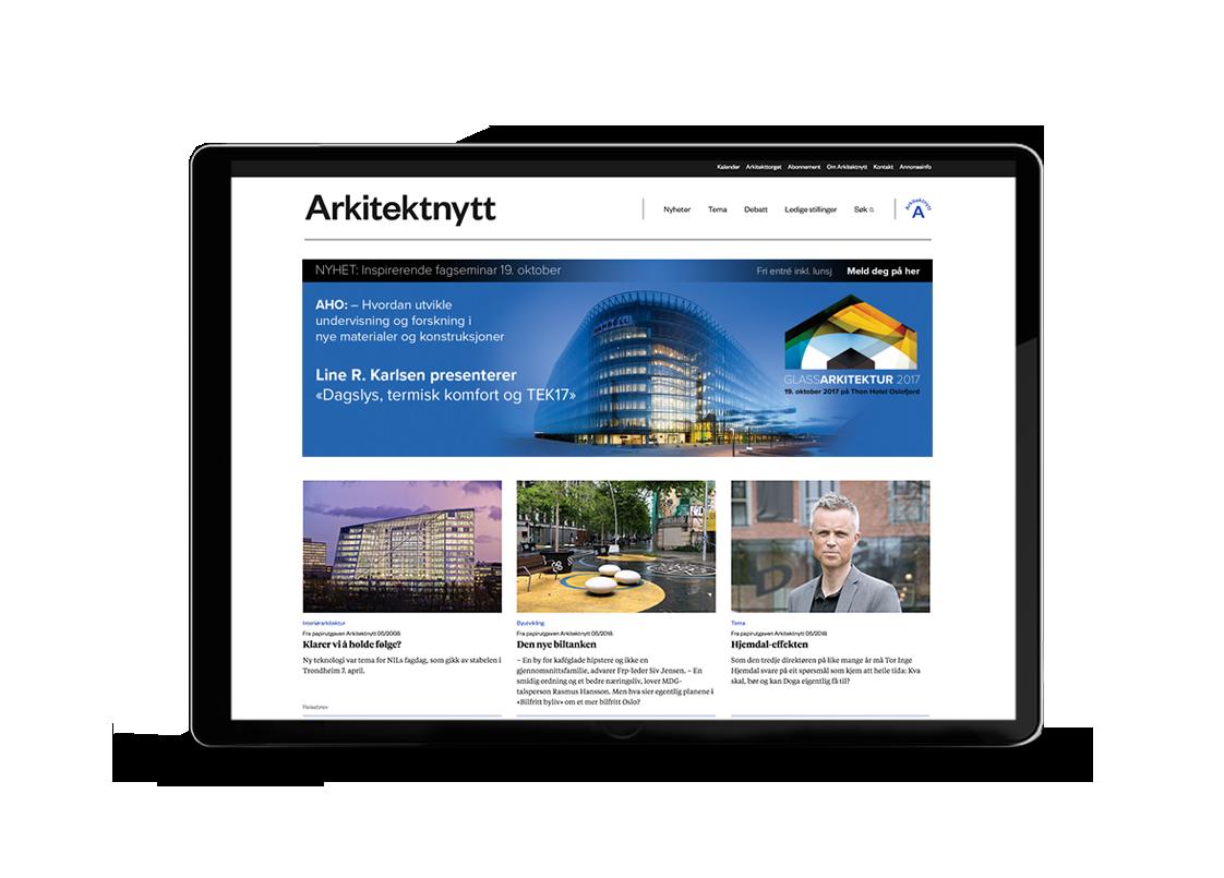 Foto av nettsiden til Arkitektnytt