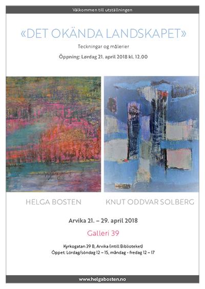 Utstillingsplakat fra Helga Bostens utstilling i Arvika 2018