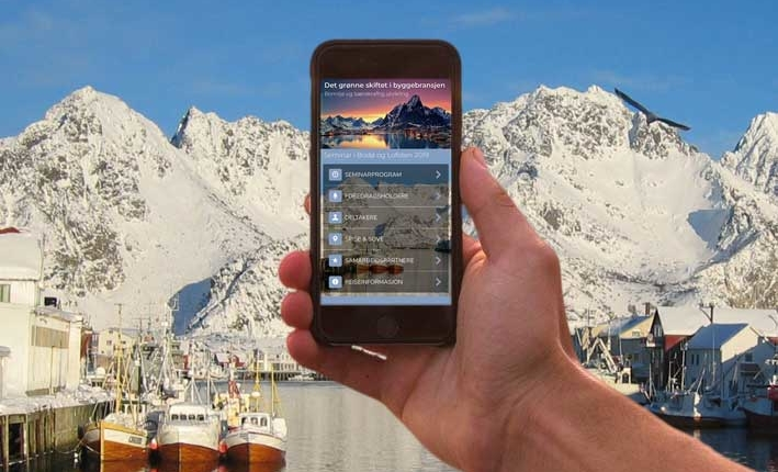 Foto av telefon med app
